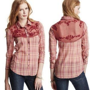 Free People Red Plaid Lace Button Down Top, M